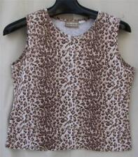 Liz Claiborne Cotton STRETCH Browns S/M Sleeveless Animal Leopard PRINT Top