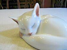Royal Copenhagen Figurine Sleeping White Cat #422 Porcelain Denmark Euc