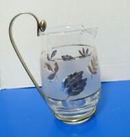 Vintage Libbey Frosted Gold Leaves Glass Creamer Pitcher W/ Gold Metal Handle