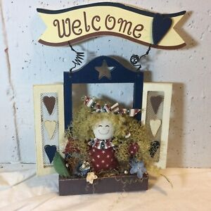 HTF Dan Dee Patriotic Welcome Sign, Wood, DanDee Doll Decor