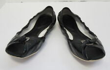 TOD'S BLACK LEATHER OPEN TOE FLATS SIZE 8.5