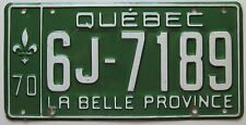 Quebec 1970 License Plate HIGH QUALITY # 6J-7189