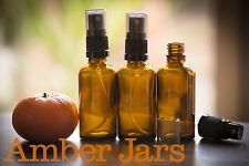 4 x 50ml Glass Amber Bottles / Spray Bottle - Aromatherapy Spritzer, FREE POST