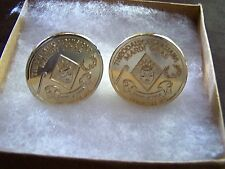 Rare Krewe of Thalia Gold-Plated Bronze High Relief Mardi Gras Cuff Link Set