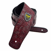 Adjustable Guitar Strap Wine Red  PU Leather Electric Acoustic Bass Wide Strap