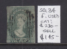 Tasmania: 2d Slate Green Qv Chalon Sg34 Fine Used.