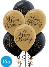Black & Gold Happy Birthday Printed Latex Balloons 15ct.~Birthday Party Supplies