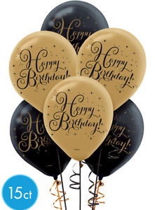Black & Gold Happy Birthday Printed Latex Balloons 15 ct Birthday Party Supplies