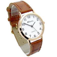 Ravel Mens Super-Clear Easy Read Quartz Watch Brown Strap White Face R0102.14.1A