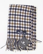 100% Cashmere Aquascutum London Scarf Club Check Tartan Winter Scarf RRP £195.99
