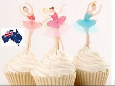 12 x Cute Dancing Ballerina CUPCAKE CAKE TOPPERS Children Birthday Party Decor