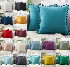 """New Velvet Cushion Cover Pom Poms Home Decorative Sofa Car Throw Pillow Case 18"""""""