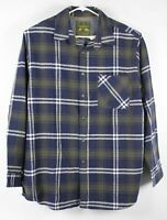 New Anchorage Heavy Flannel Shirt Mens Blue Olive Plaid XL Brawny