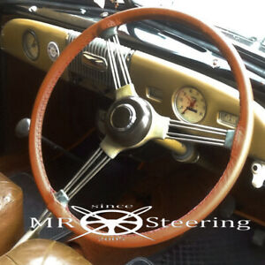 Fits LAND ROVER SERIES 2A 3 Luxury Medium Brown Leather Cover For Steering Wheel