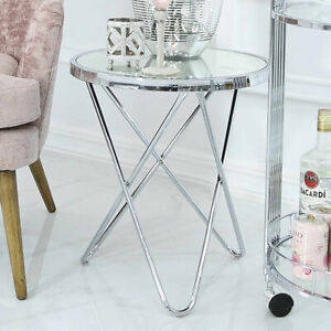 Colton Contemporary Mirrored Glass & Silver Chrome Lamp End Side Drinks Table