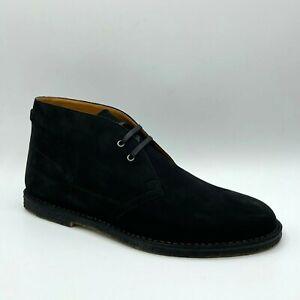 $845 Saint Laurent Men's Black Suede Lace-up Ankle Boots 503064 1000