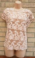 SELECT LIGHT PEACH PINK FLORAL CROCHET LACE FRILL BEACH TUNIC TOP BLOUSE 14 L
