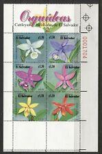 EL SALVADOR 1999, FLOWERS: ORCHIDS, Scott 1517 SHEET OF 6 DIFFERENT, MNH