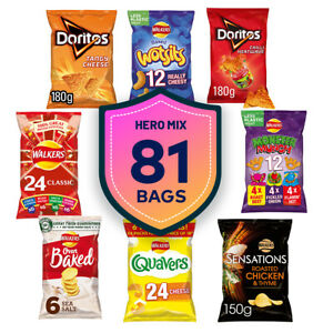 Walkers Mixed 81 Bags Crisps Doritos Monster Quavers Cheese Chicken Thyme Baked