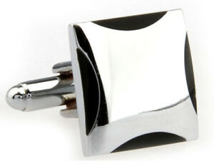 Cufflinks.Direct  Classical & Stylish Hard Wearing Black Enamel Office Cufflinks