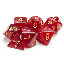 Philosopher's Stone Red Transparent 7 Dice Polyhedral Set in Velvet Pouch, D&D