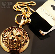 """New Gold Tone Stainless Steel Lion Head Pendant & 24"""" Round Box Chain Necklace"""