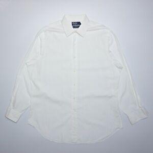Ralph Lauren Men's White Long Sleeve Formal Cotton Collared Shirt Size XL