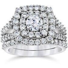 Certified 2.40Ct Round Cut Diamond Engagement & Wedding Ring 14K White Gold