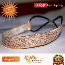 Headband Wedding Bridal Fascinator Gold Ladies Girls Headpiece with elastic band