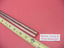 "2 Pieces 3/8"" C110 COPPER ROUND ROD 12"" long H04 .375"" OD CU New Lathe Bar Stock"