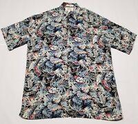 Mens Multi Color Aloha Hawaiian Flower Floral Print Shirt Medium Moda Campia