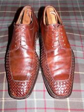 Bachrach 'Venice' Brown Woven Leather Apron Toe Derby Shoes, Italy, Sz 8.5M