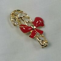 Candy Cane Gold Tone Red Enamel Bow Christmas Holiday Vintage Pin Brooch