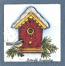 Small WINTER BIRDHOUSE CHRISTMAS Wood Mounted Rubber Stamp NORTHWOODS C10145 New