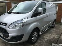 To Fit 13+ Ford Transit Tourneo Custom LWB Side Bars Steps Pads Tubes Skirts