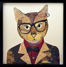 Handarbeit 3D * Collage Frame Kunst Bild Wand Lein Katze Brille Anzug Wohnzimmer