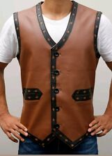 The Warriors Movie Faux Leather Vest Halloween Costume in Tan Brown Color
