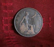 1914 Great Britain 1 One Penny Bronze World Coin Britania Seated UK England