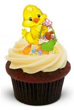 NOVELTY EASTER CHICK with eggs 12 STAND UP Edible Cake Toppers Premium Cute