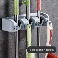 Wall Mounted Kitchen Storage Mop Organizer Holder Brush Broom Hanger Anti Slip