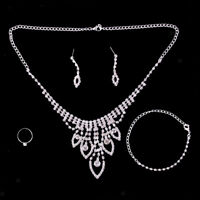 Silver Plated Jewelry Sets Crystal Necklace and Earring Set Ring Bracelet
