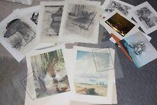 Vintage Brown Bigelow Lionel Barrymore Print Etching Sailboat Art Al Wittell LOT