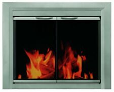 Pleasant Hearth Colby Fireplace Glass Door, Sunlight Nickel, CB-3300; Small