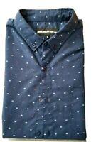 Molokai Surf Co Size XL Button Down Short Sleeve Shirt Black With Fish bones EUC