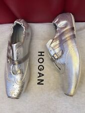 Hogan - tolle Leder Sneaker in silber + Staubbeutel -36/37