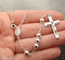 "6mm 24"" Italian Solid Rosary Cross Chain Necklace Real 925 Sterling Silver"