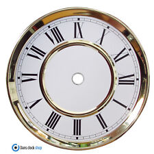 New Replacement Hermle 6'' Clock Dial White Face Black Roman Numerals Gold Bezel