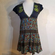 Free People Boho Embroidery Sweater and Sheer Mini Dress Tunic Top 2 Blue Brown