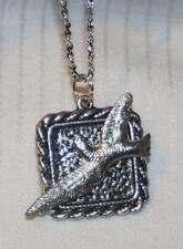 Handsome Roped Rim Textured Eagle in Flight Silvertone Pendant Necklace