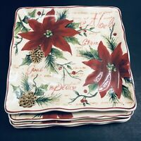 "NWT MAXCERA Noel CHRISTMAS 9"" Square Poinsettia Salad/Side Plates Set of 4"